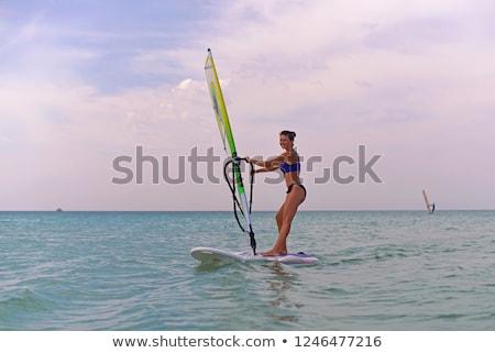feliz · mulher · vento · surfar · praia · quadro - foto stock © dolgachov
