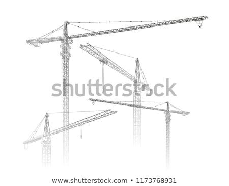 Inşaat vinç büyük beyaz Bina çerçeve Stok fotoğraf © iTobi