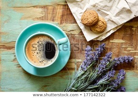 暗い · コーヒーカップ · 自家製 · クッキー · 表 · コーヒー - ストックフォト © juniart