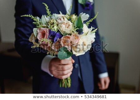 gomblyuk · rózsa · részlet · esküvő · virág · öltöny - stock fotó © kmwphotography