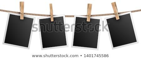 Wasknijper houten Blauw oppervlak kort wasserij Stockfoto © Stocksnapper