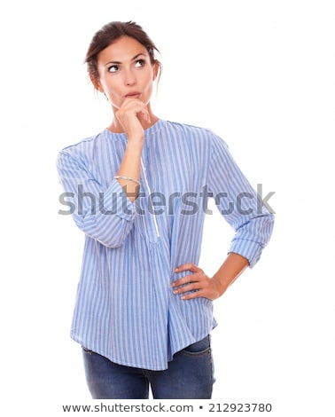 peinzend · jonge · vrouw · naar · omhoog · portret · Blauw - stockfoto © pablocalvog