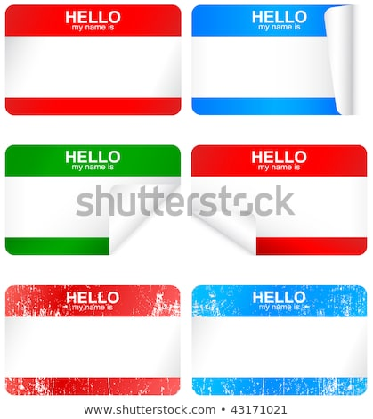 azul · membro · adesivo · olá · meu · nome - foto stock © bytedust