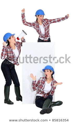 threesome of women wearing blue hard hat stock photo © photography33