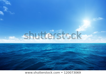 Blue sea with waves and cloudy blue sky  Stock photo © tarczas