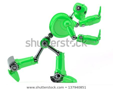 Zöld robot toló láthatatlan tárgy izolált Stock fotó © Kirill_M