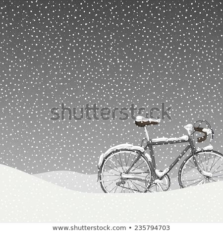 Rower noc shot rowerów warstwa śniegu Zdjęcia stock © gophoto