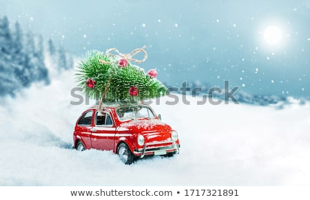 red car and snowy landscape stock photo © rglinsky77