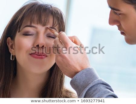 小さな 魅力のある女性 化粧 眉 影 ストックフォト © juniart