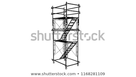 construction worker climbing ladder on building site for new hom stock photo © monkey_business