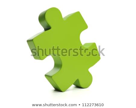3D Puzzle piece green Stock photo © opicobello