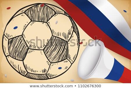 Gól futballabda rajzolt szalag futball sport Stock fotó © marinini