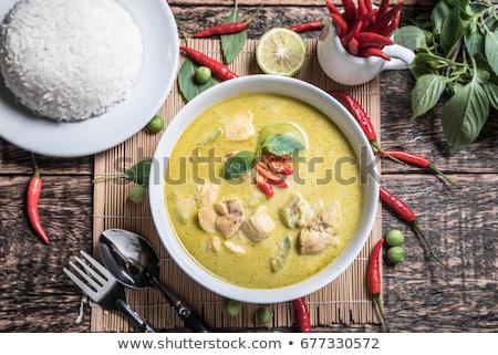 Taylandlı · çorba · tavuk · et · beyaz - stok fotoğraf © nalinratphi