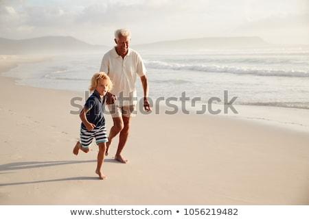 Glücklich Enkel Großvater Spielzeug Warenkorb Landschaft Stock foto © d13
