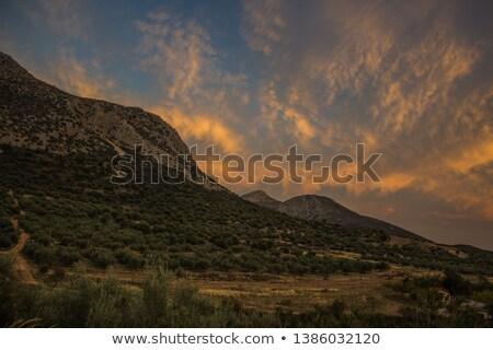 carretera · montana · pueblo · otono · paisaje · helado - foto stock © simazoran