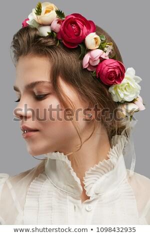 ゴージャス · ブルネット · 美 · ドレス · 森林 · ツリー - ストックフォト © amok