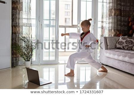 Karatê menina quimono posando preto belo Foto stock © InTheFlesh