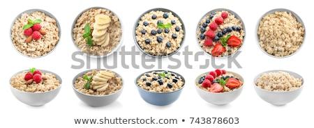 Kása asztal vacsora reggeli desszert kanál Stock fotó © yelenayemchuk