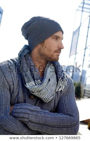 Foto stock: Retrato · sério · moço · inverno · roupa · branco