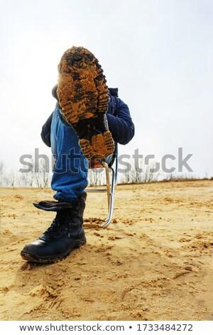 Lezser férfi ül zsámoly lábak keresztbe jóképű Stock fotó © feedough