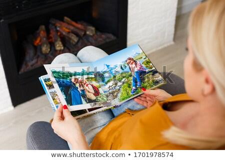 Nők néz album nő lány kávé Stock fotó © photography33