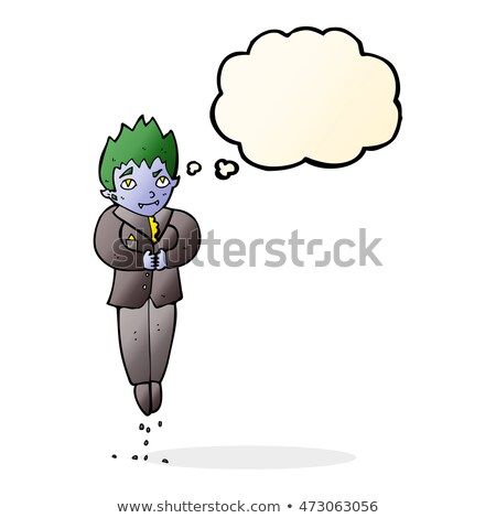 cartoon floating vampire with thought bubble Stock photo © lineartestpilot