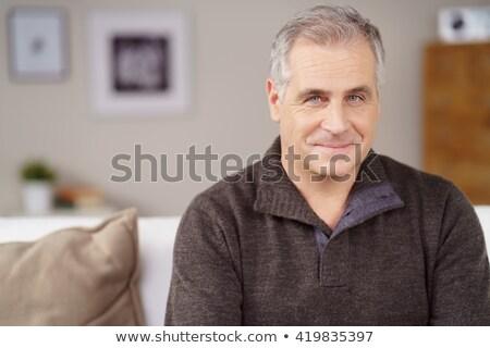 Charyzmatyczny szczęśliwy atrakcyjny starszy człowiek ciepły Zdjęcia stock © ozgur