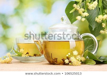 Demlik fincan çay çiçekler gökyüzü Stok fotoğraf © joannawnuk