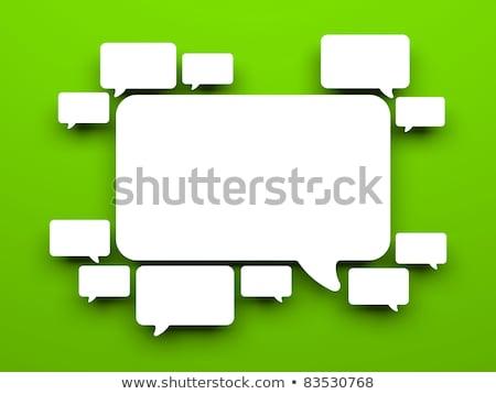 Mężczyzna 3d zielone czat bańki biały front kąt Zdjęcia stock © nithin_abraham