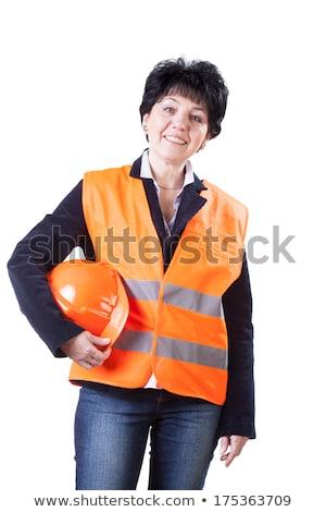Vrouw oranje vest geïsoleerd witte business Stockfoto © Elnur