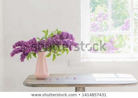 Gyönyörű köteg orgona váza tavasz nyár Stock fotó © tetkoren