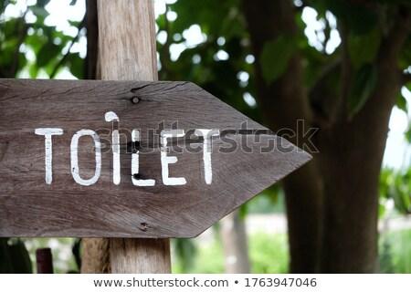 WC · signo · dirección · madera · pared · fondo - foto stock © michaklootwijk