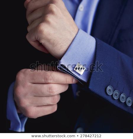 férfi · gombok · póló · üzletember · vőlegény · reggel - stock fotó © prg0383