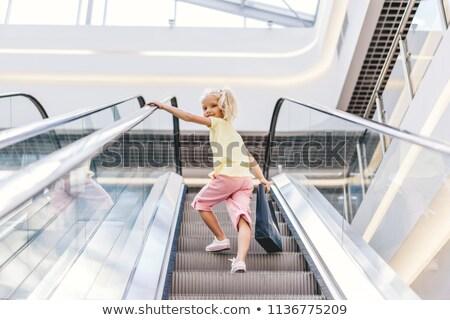 çocuklar yürüyen merdiven şehir çocuk Metal alışveriş Stok fotoğraf © Paha_L
