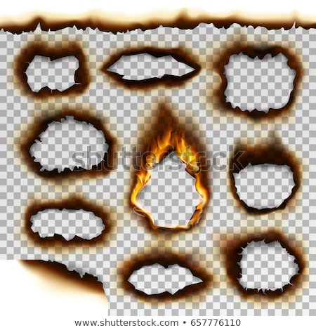 Stockfoto: Vlam · gat · papier · brand · achtergrond · ruimte
