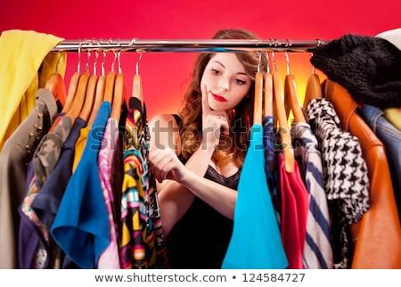 nő · választ · ruházat · otthon · ruhásszekrény · semmi - stock fotó © deandrobot