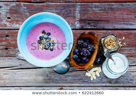 Well being and weight loss concept, berry smoothie and oatmeal w Stock photo © vlad_star