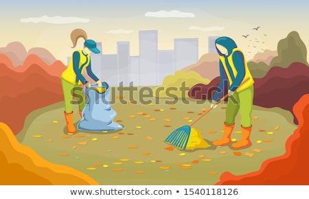 woman raking autumn leaves vector illustration stock photo © rastudio