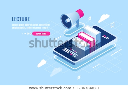 Blue webinar icon isometry Stock photo © Oakozhan