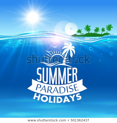 Stock photo: Vector illustration on a summer holiday theme with paradise isla