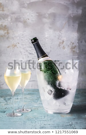 Fresh oysters and champagne bottle Stock photo © bluering
