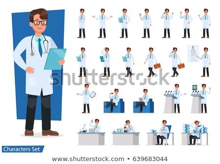 Vektor szett orvos betűk nő fogmosás Stock fotó © RAStudio