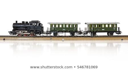 Speelgoed trein elektrische locomotief geïsoleerd retro Stockfoto © manfredxy