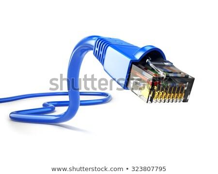 Ethernet kabel witte Geel geïsoleerd computer Stockfoto © luissantos84