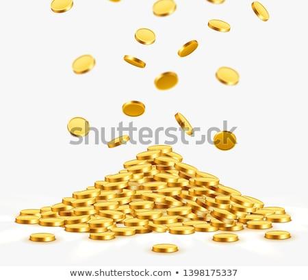 Золотые монеты акварель иллюстрация белый деньги Сток-фото © jara3000