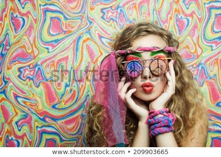 joli · belle · jeunes · femme · tente - photo stock © adrenalina