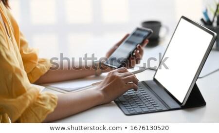 Görüntü iş kadını ekran turuncu Stok fotoğraf © deandrobot