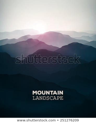 Silhouettes of mountain slopes in the haze Stock photo © All32