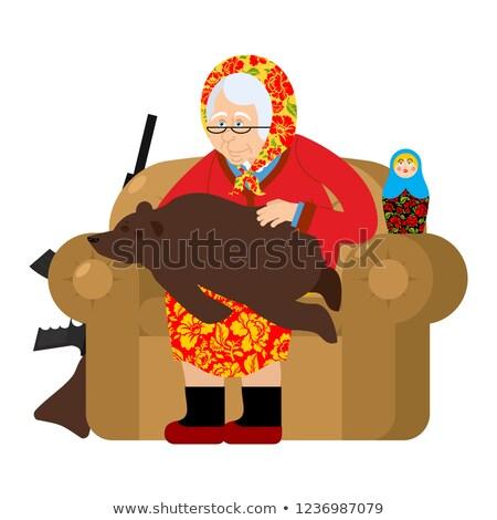 Russisch grootmoeder beer huisdieren oude vrouw fauteuil Stockfoto © popaukropa