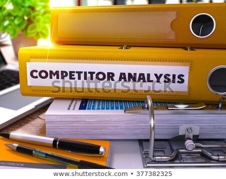 黄色 オフィス フォルダ 碑文 競争相手 分析 ストックフォト © tashatuvango